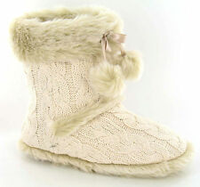 Cable Knit Slipper Boots pom pom Ivory colour X2037