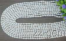 SP0002  Natural 4-5MM White Rice Freshwater pearls loose Beads 15''