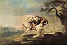 Horse Attacked by a Lion by George Stubbs (Classic English Naturalist Art Print)