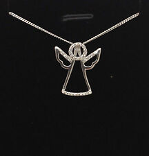 925 Sterling Silver Guardian Angel Pendant necklace chain CZ UK Seller