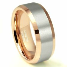 8MM Rose Gold Plated Tungsten Carbide Beveled Ring Wedding Band
