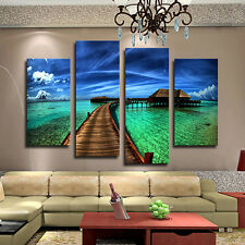 4Pcs Modern Seaside Floral Oil Painting Pictures Living Room Wall Art Home
