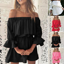 Summer Womens Casual Puff Sleeve Stretchy Off shoulder Party Beach Mini Dress