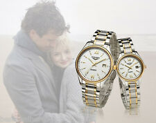 GUANQIN Couple Calendar Rhinestone Analog Quartz Watch with Luminous Pointers