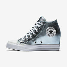 NEW Womens CONVERSE CHUCK TAYLOR ALL STAR LUX METALLIC MID TOP Grey Blue