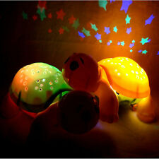 Turtle Stars LED Night Light Projector Musical Lamp For Baby Room Decor Kid Gift