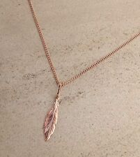 "Rose Gold Plated 925 Sterling Silver Feather pendant 18"" chain necklace"