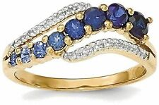 14K Yellow Gold Lab Created Ceylon Sapphire / Created Sapphire & Diamond Ring