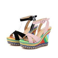 Rainbow Color Platforms Wedges Ankle Strap High Weave Heels Sandals Womens Shoes