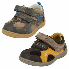 £19.99 INFANTS BOYS CLARKS LEATHER DOUBLE RIPTAPE CASUAL FIRST SHOES RU ROCKS