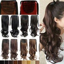 100% Thick Long Drawstring Ponytail Clip in Hair Extensions Straight Wavy Pony T