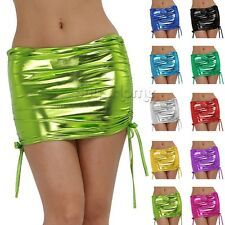 Sexy Women's Micro Mini Shiny Skirt Wet Look Patent Leather Lingerie Club wear