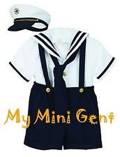 Boys Sailor Short Set Navy White Nautical Outfit Infant 3m-24m Toddlers 2T-4T