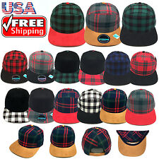 Men's Plaid Checker Suede Snapback Cap Adjustable Baseball Cap Flat Bill Hat