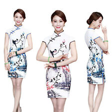 New Traditional Chinese Women Imitation Silk Short Sleeve Floral Cheongsam Dress