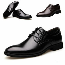 Men pointed toe Business Dress Formal Shoes Casual Flat Oxfords Loafers  Lace up