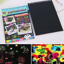 Colorful Scratch Art Magic Painting Paper Book W Drawing Stick Kids Toy 10sheet