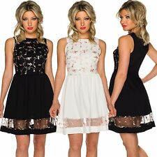 Ladies Evening Cocktail Dress knee length Embroidery Party Graduation ball