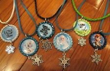 New FROZEN Themed Bottlecap Necklaces+Snowflake Cham-Elsa,Anna, Olaf & 3 Quotes
