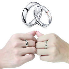 Women Men Love Heart Promise Band Ring for Lover Couple Wedding Jewelry Deft