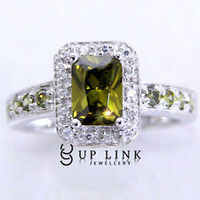 UP LINK Square Shape Emerald And Champagne Cubic Zirconia 925 Wedding Ring