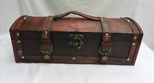Wood and Leather Strapped Bottle Carry Box - Wine Storage or Gift Box - SECONDS