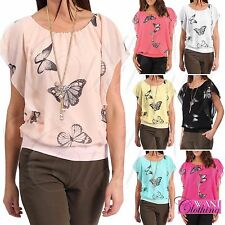LADIES BUTTERFLY PRINT CHIFFON BLOUSE NECKLACE WOMENS DRAPE WATERFALL SUMMER TOP
