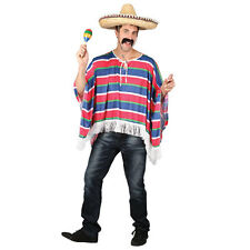 Mens Mexican Poncho (One Size) Costume Hombre Cowboy Western Mexico Fancy Dress