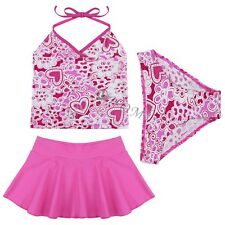 3pcs Kids Baby Girls Hot Pink Bikini Suit Set Swimsuit Swimwear Bathing Swimming