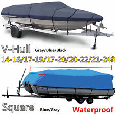"17 18 19' Trailerable Fish Ski Boat Cover 600D V-Hull Beam 95"" w Oxford Bag Blue"