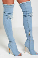 NEW WOMENS DENIM OVER THE KNEE HIGH STILETTO HEELS PEEPTOE LADIES BOOTS SIZE 3-8