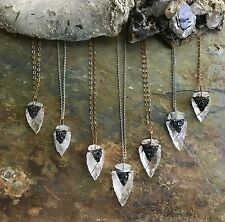 Clear Quartz Wire Wrapped Arrowheads with Crushed Carborundum Necklaces