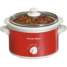 Proctor Silex 1.5 Quart Portable Oval Slow Cooker, Red