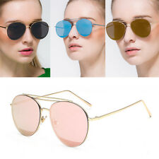Womens Fashion Round Flat Lens Aviator Designer Sunglasses Coloured Lenses