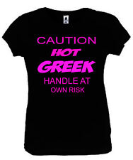 Caution Hot Greek T-Shirt Funny Ladies Fitted Black S-2XL New