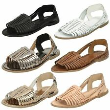 Ladies Leather Collection Flat Weaved Slingback Sandal