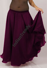 Purple - 2 Layer Reversible Skirt Belly Dance Gypsy 9 Yd Fulll Circle Jupe Gonna