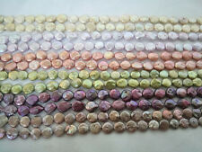 10-12mm coin genuied cultured freshwater pearl loose beads necklace USA BY EUB