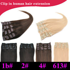 8A 24inch 100g 7pcs Set 100% Remy Human Hair Clip In Human Hair Extensions