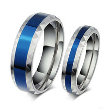Unisex Blue Titanium Stainless Steel Finger Band Ring Lover Gift Jewelry Deft