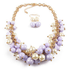 1Set Women Fashion Jewelry Candy Color Multilayer Beads Necklace Earrings Chains
