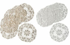Pack of 6 Floral Lace Round Doilies 100% Polyester Traditional Table Linen Mat
