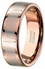 Mens Wedding Band 8mm White Tungsten Carbide Ring Brushed Section Cut Comfort..