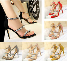 Women New High Heels Pearl Crystal Open Toe Shoes Sandals Stiletto Buckle Pumps