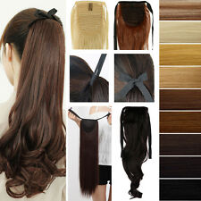 US Fast Ponytail Clip in with Drawstring Bind Tie Hair Extensions Extension TR3