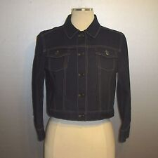ELIE TAHARI Women's Julia Dark Blue Cotton Cropped Denim Look Basic Jacket