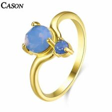 Blue Opal Women Party Cocktail Ring Fashion Yellow Gold Plated Jewelry Sz 6-9
