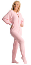 Unisex Luxuriously Soft Pink Terry Cloth Adult Footed Pajamas W/ White Trim