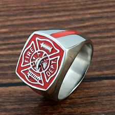 Mens Vintage US Fire Fighter Stainless Steel Ring Gothic Biker Jewelry Band Punk