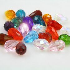 20Pcs Faceted Teardrop Crystal For Czech Crystal Loose Spacer Glass Beads